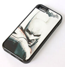 for iPhone 5C - BLACK WHITE BATMAN Hard Rubber Gummy TPU Fitted Skin Case Cover
