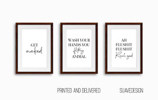 Get Naked Wash Your Hands Filthy Animal Minimalist Bathroom Toilet Wall Prints