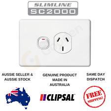 Clipsal Slimline Single Power Point 10A GPO Single Switch Socket White SC2015