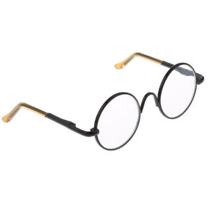 1/6 Doll Accessories Round Black Frame Glasses Clear Lens for Blythe Doll
