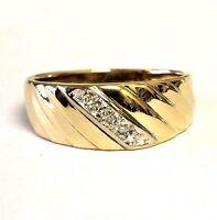 14k yellow gold mens .025ct diamond VS G wedding band ring 3.9g gents estate 7