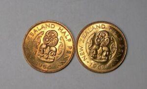 1962 AND 1964 NEW ZEALAND TIKI HALF PENNIES LOT 2 GEMS #502-56