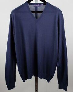 New Ralph Lauren Purple Label sz L sweater 100% cashmere navy V neck