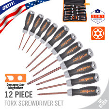 12 PC Torx Screwdriver Set Magnetic Security Tamper Proof Star T6 - T40 S2 Steel