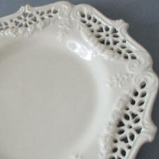 Antique LEEDS Porcelain Creamware Plate RETICULATED Pierced * SWAGS of FLOWERS