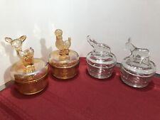 Set Of 4 Vintage Carnival & Other Glass Powder Jar Dish
