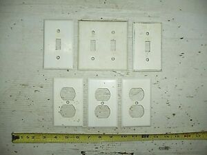 6 Misc Old Vintage White Metal Switch Plate & Outlet Cover