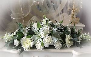 Wedding Flowers Table Centrepiece in Mixed Ivory Flowers