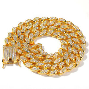 Hip Hop Necklaces 20mm Chains Rhinestones 18K Gold & Silver Plated Cos Jewelry