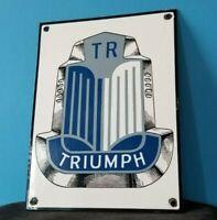 VINTAGE TRIUMPH PORCELAIN GAS AUTO SERVICE STATION DEALERSHIP PUMP SIGN