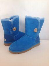 UGG Australia Bailey Button Suede  Sheepskin Boots Brilliant Blue Women's  8 US