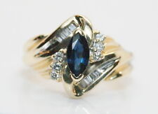 14K Yellow Gold .75 Total Carat Weight Marquise Sapphire & Diamond Cocktail Ring