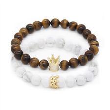 2pcs/set Couple Bracelets for Lovers Crown Queen Charm Stone Beads Bracelets