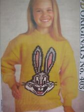 COPY Knitting Pattern Woman's Day 1990 - BUGS BUNNY - Ages 4 to12Yrs in 8 Ply LN