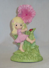 Pink Hibiscus Precious Moments Girl Figurine Ladybug Pink Glittery Dress NWOB