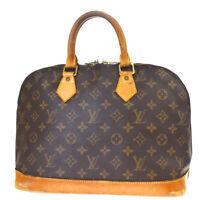 Authentic LOUIS VUITTON Alma Hand Bag Monogram Leather Brown M51130 36MF037