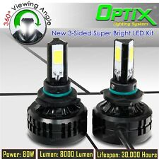 LED 80W 8000LM 6000K White 3-Sided Kit Headlight High Beam Only - 9005 HB3 Pair