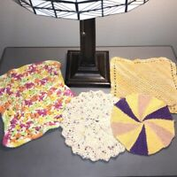 "Vintage Mid Century Hand Crocheted Doilies Lot of 4 Purple Yellow Pink 7-10"" Rd"