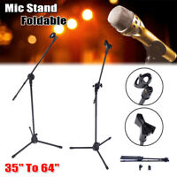Telescopic Microphone Stand 360° Boom Arm Holder Foldable Tripod w/2 Mic Clip