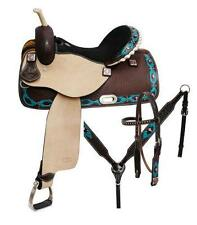 "NEW 14"" 5PC PACKAGE CIRCLE S Barrel saddle set with TEAL Painted Navajo Diamond!"