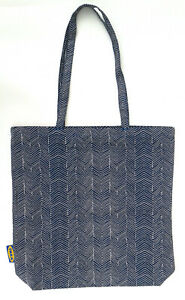 IKEA, TREBLAD, Blue/Beige, Cotton, Shopping, Tote Bag with Inner Pocket - New