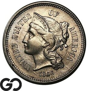 1866 Three Cent Nickel, Nice BU++ Collector Type Coin