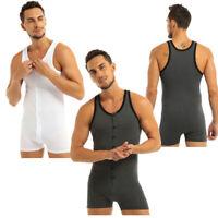 Mens Cotton Bodysuit Button up Sleeveless Singlet Lingerie Sports Gym Jumpsuit