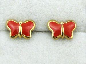 Boucles d'oreilles enfant, or 375 = 9 cts, émail, fermoirs à vis, papillons