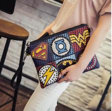 Funky Clutch Envelop Superhero Logo Rivet Design Shoulder Messenger Fashion Bag