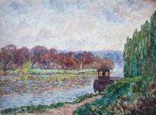 Léon Barotte paysage fluvial rare peinture à l'essence grand format 41 x 55 cm