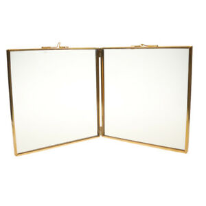 Double Sided Glass & Metal Photo Picture Frame Freestanding 9.4 x 9.4""