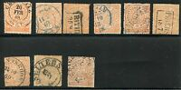 GERMANY NORTHERN DISTRICT 1/2 ORANGE LOT OF 8  USED  PLUS ONE DAMAGED  AS SHOWN