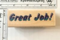Great Job Rubber Stamp Stampabilities Big Bold Letters School Wood Mounted