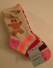 CAT & JACK Girls' Crew Socks 4pk Gingerbread Stripes Fair Isle Size S 5.5 - 8.5
