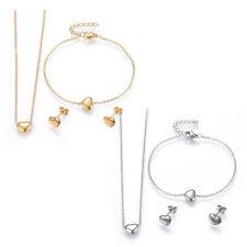 Stainless Steel Set Pendant Necklace Earring Bracelet Heart Gold Silver 17