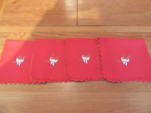 """Lovely Retro Vintage Red  Embroidered Christmas Napkins 16""""sq"""