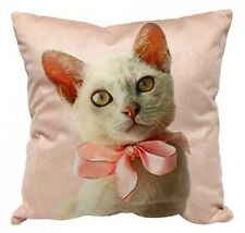 Pink Velvet Cat Kitten With Bow Square Scatter Cushion Pillow  Home Decor