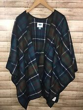 OLD NAVY Women's Size XL-XXL Blue Green Plaid Cape Poncho Sweater VGUC