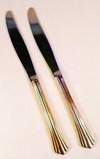 2 Golden Flair Dinner Knives International Stainless Gold Electroplate 18-8