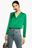 Topshop Green Satin V Neck Shirt Top Long Sleeve Pyjama Blouse UK  6 to 18 £30