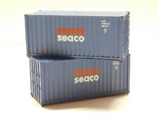 HO Scale - Athearn - Lot of (2) 20' SEACO Intermodal Shipping Containers