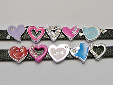 10 Assorted Alloy Enamel Rhinestone Heart Slide Charm Fit 8mm Wristband