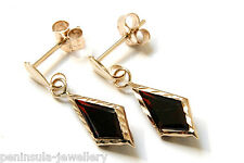 9ct Gold Garnet Red CZ Drop Earrings Gift Boxed