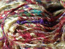 Sari Silk Yarn Cream/Red/Multi 100 g.  Textile Arts/Knitting/Crochet/Weaving