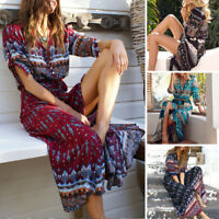 Plus Size 5XL Dress Sundress Short Sleeve Women Summer Beach Long Maxi