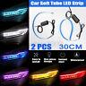 Waterproof 2x 30CM LED Car DRL Daytime Running Lamp Strip Light Soft Tub