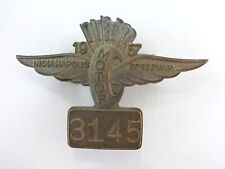 1957 Indianapolis 500 Wing, Wheel & Flags Bronze Pit Badge Sam Hanks