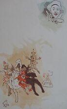 JULES CHERET (1836-1932). Lithographie originale (1890), Arlequins jeux jouets,
