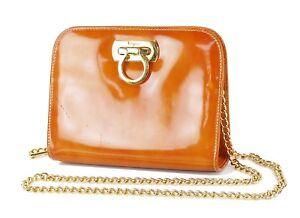 Auth SALVATORE FERRAGAMO Gancini Orange Patent Leather Chain Shoulder Bag #73305