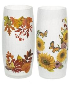 Ganz H9 Thanksgiving Fall Large 10in Crackle Glass Candle Holder 2pc Set ER54657